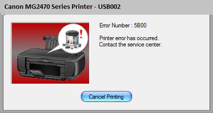 Fix Error Code Printer: Canon MG2470 Error 5B00