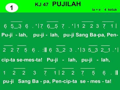 Lirik dan Not Kidung Jemaat 47 Pujilah