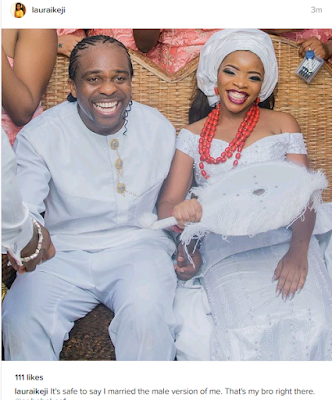 Linda Ikeji's sister, Laura gushes about her hubby as she shares more photos from her wedding
