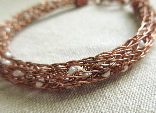 Copper Viking knit sciart biology jewelry DNA bracelet