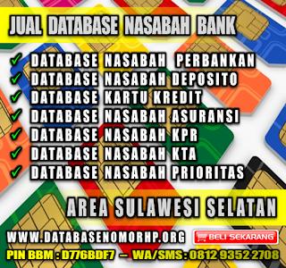 Jual Database Nasabah Bank Wilayah Sulawesi Selatan