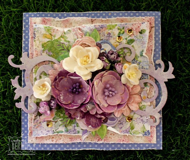 """ Thank You"" card by Bernii Miller for BoBunny using the Secret Garden collection."