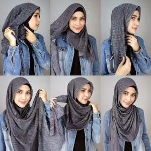 cara memakai hijab segi empat simple dan mudah