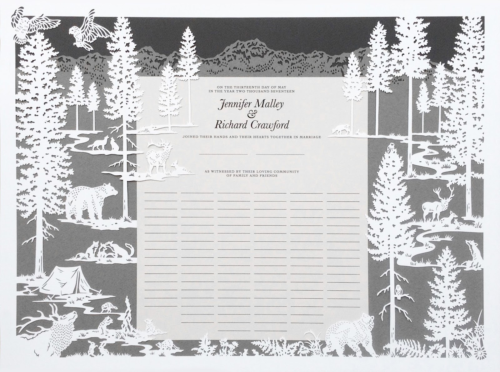 Washington state park quaker certificate, expertly designed and papercut by hand by Naomi Shiek
