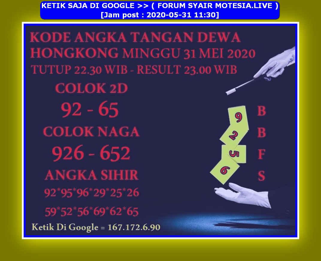 Kode syair Hongkong Minggu 31 Mei 2020 283