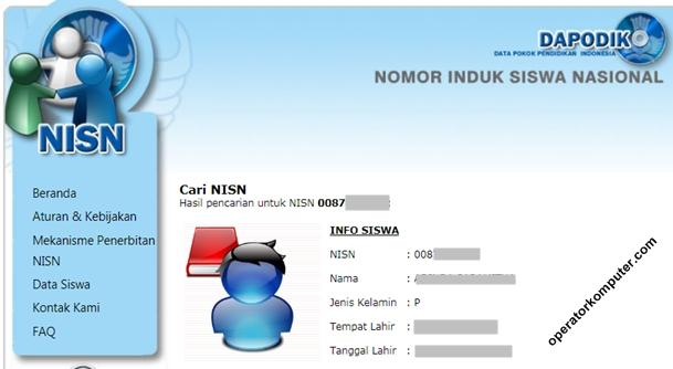 Contoh hasil pencarian berdasarkan NISN