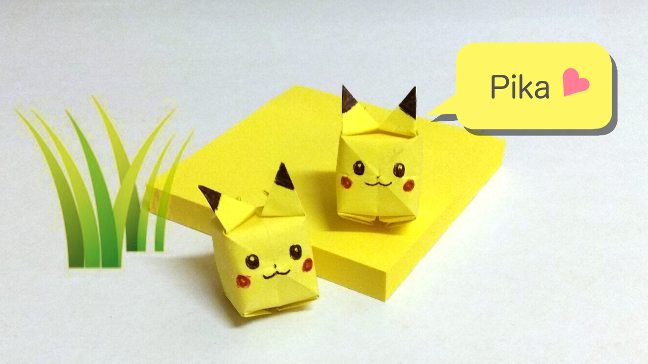 yoshinys design cute pikachu origami from sticky notes