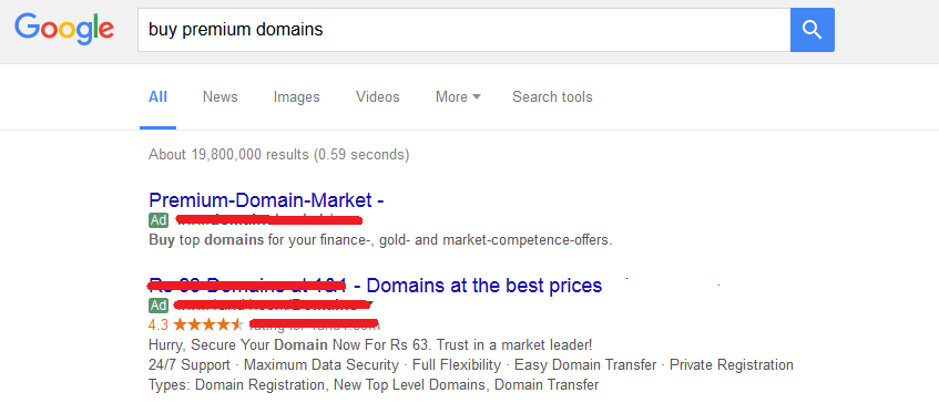 sell domains Google adwords ads