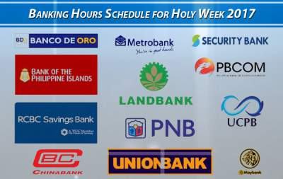 Philippine Banks Holy Week 2017 Schedule (BDO, BPI, Metrobank, PNB, Security Bank, and other banks)
