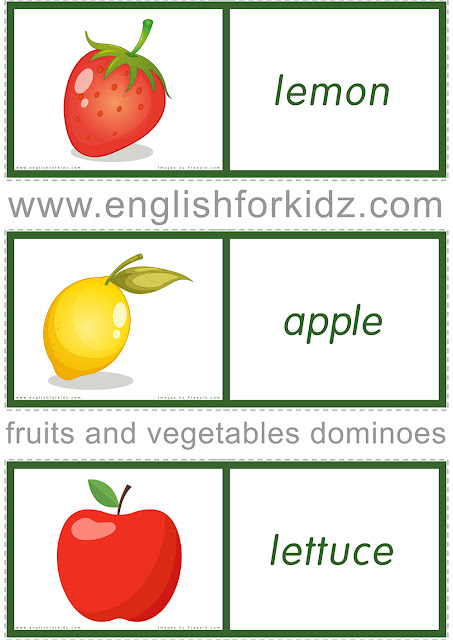 Printable fruits and vegetables domino game