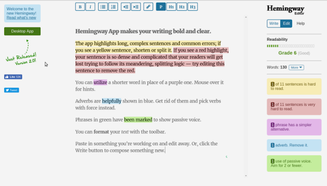 Hemingway app for proofreading