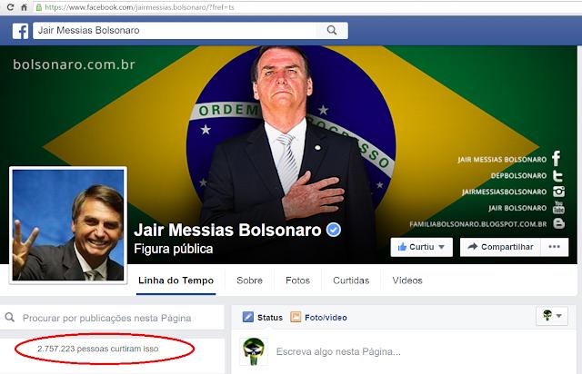 O grande lider da Direita Jair Bolsonaro ultrapassa a comunista bulgara Dilma e agora tem mais fãs no facebook