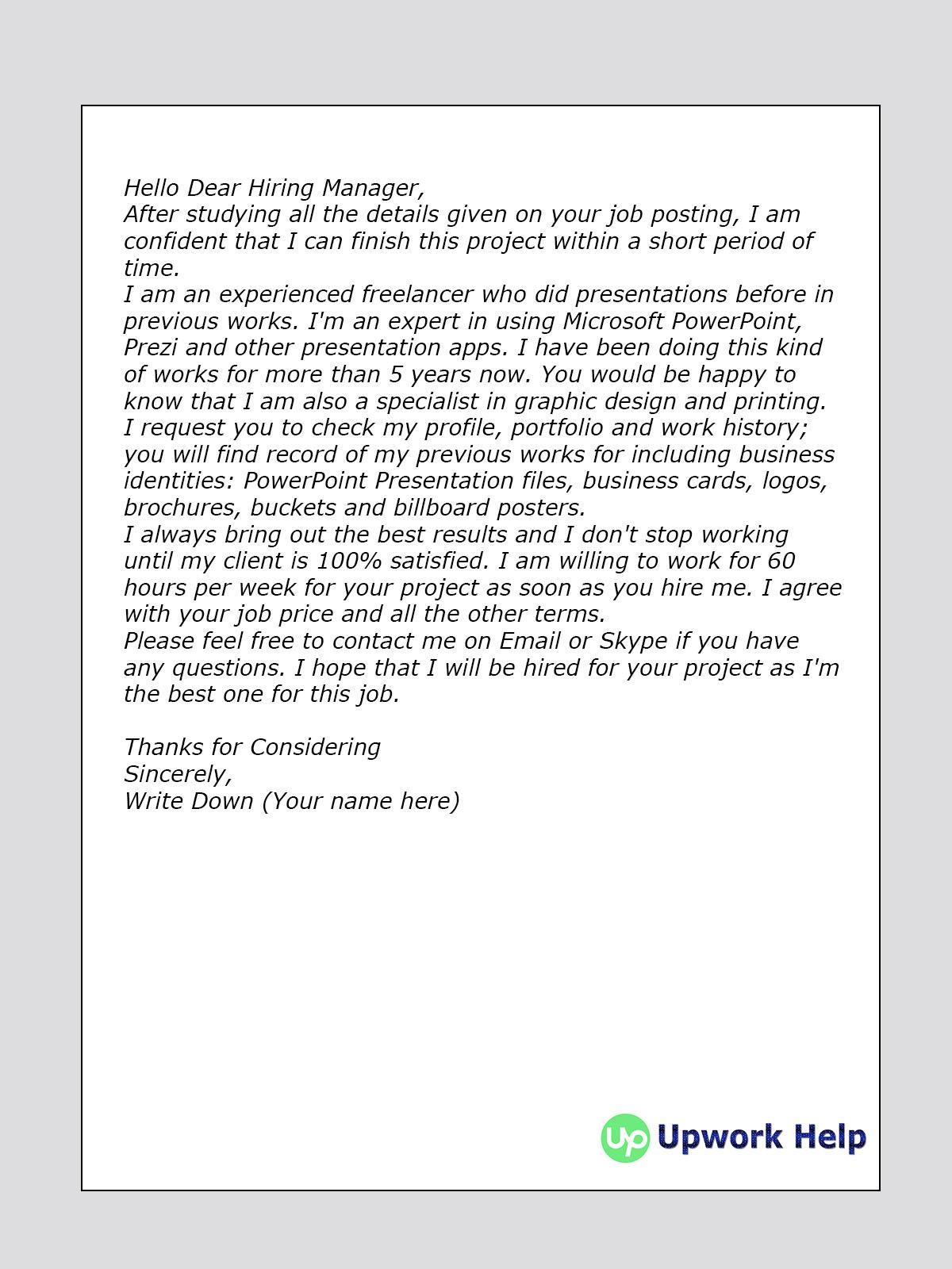 Cover Letter Sample for MS PowerPoint Presentation - Upwork Help