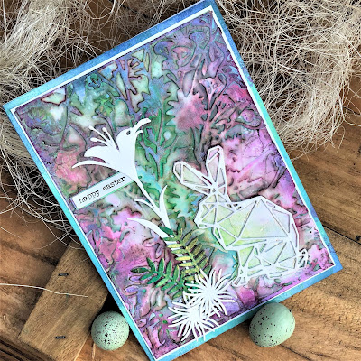 Sara Emily Barker https://sarascloset1.blogspot.com/2019/04/easter-card-with-tim-holtz-oxide-sprays.html Mixed Media Easter Card #oxidesprays #organic #geospringtime #wildflowerstems (5)