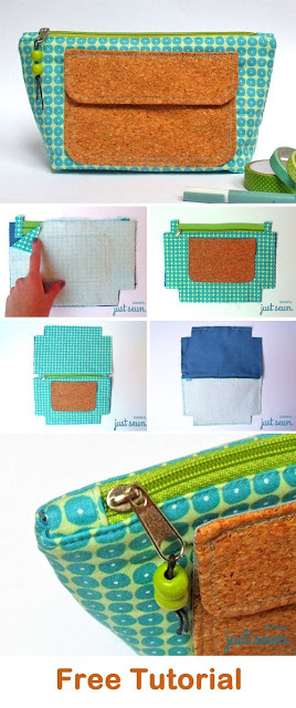 Easy Cosmetics Bag Tutorial. Free pattern, quick and easy to sew