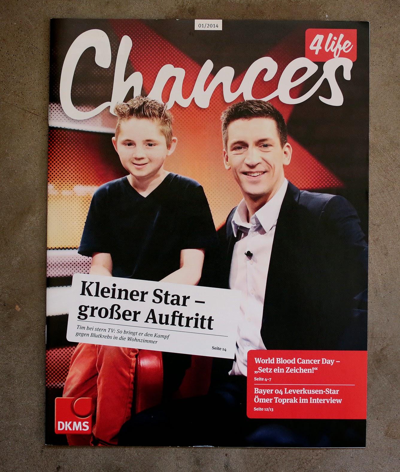 Mit Tim bei Stern TV, DKMS Magazin, 01/2014