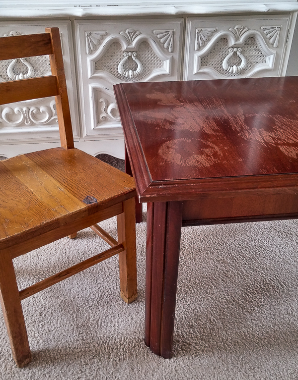 table and chairs before