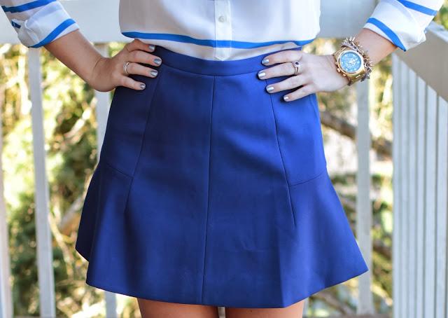 jcrew, j.crew, j. crew, preppy, crepe skirt, double crepe skirt, blue skirt