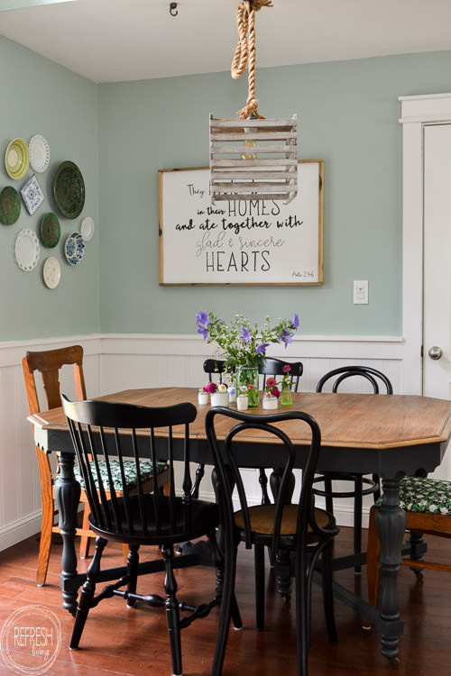 Modern Farmhouse Dining Room: Happiness Is Homemade Link Party #186