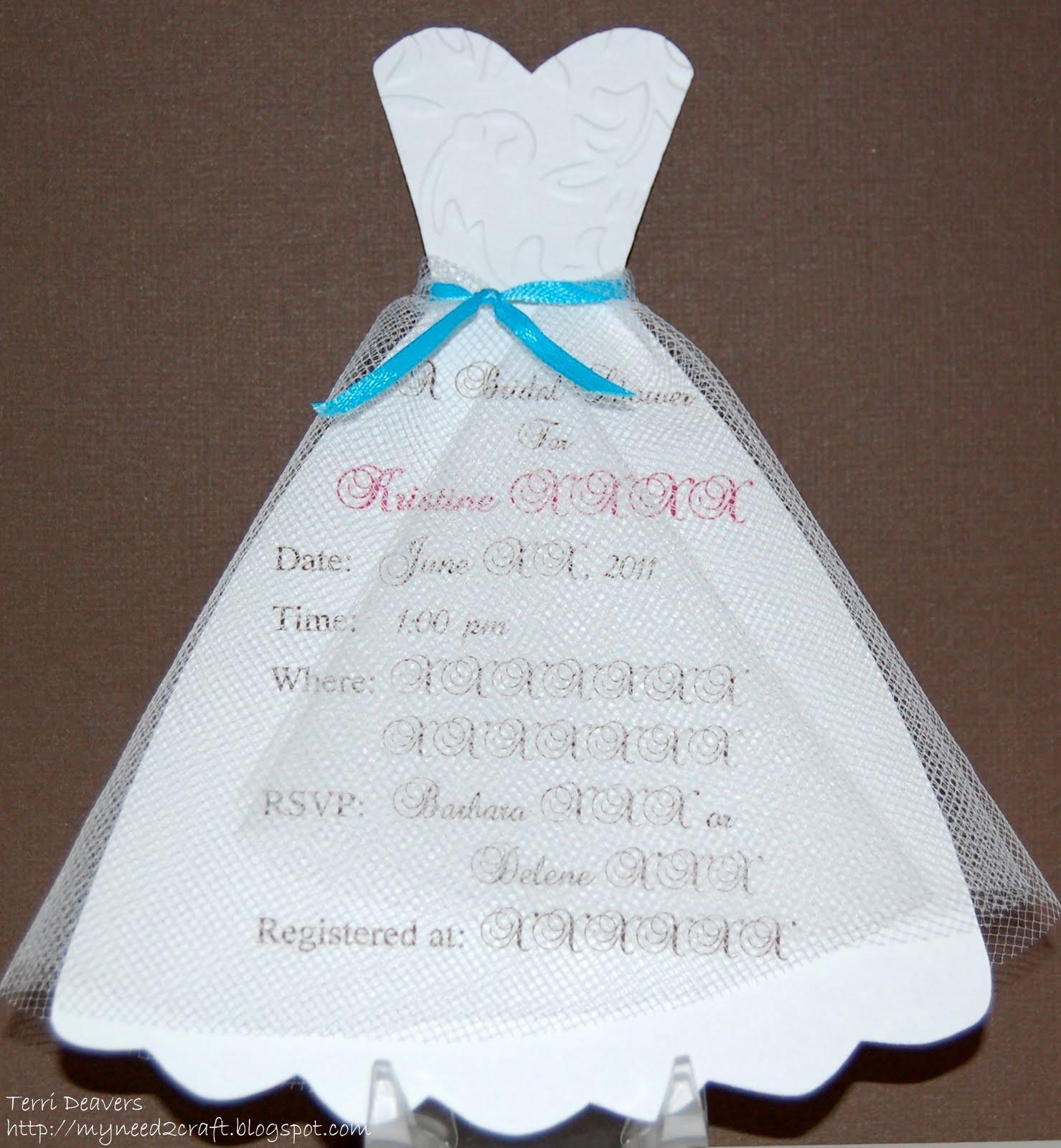 myneed2craft by terri deavers bridal shower invitations. Black Bedroom Furniture Sets. Home Design Ideas