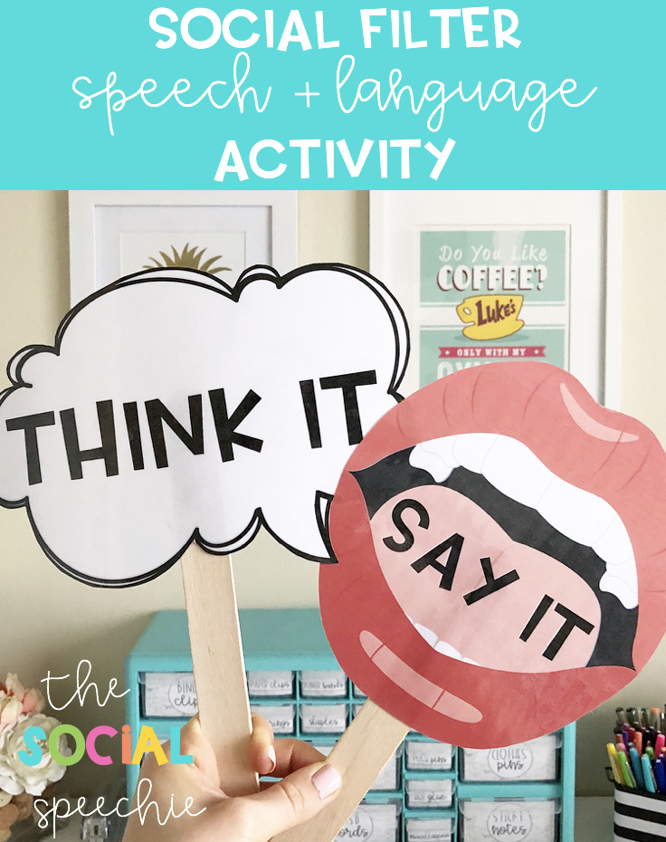 say it or think it social filter activity for speech therapy the