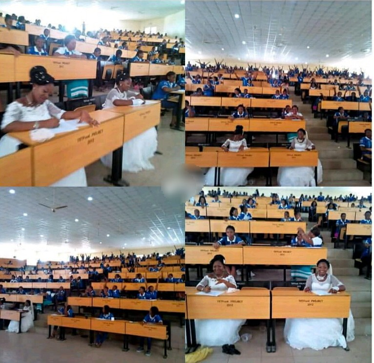 Image result for two nigerian student write exam in their wedding gown