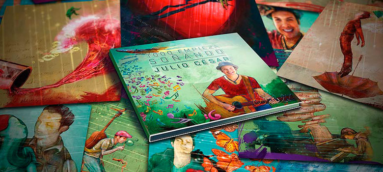 Collage de ilustraciones del disco Todo empieza soñando de Julio César