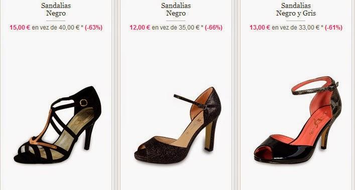 Ejemplos de sandalias de tacón en negro y gris muy baratas
