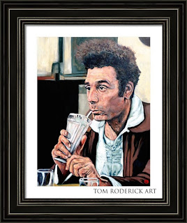Portrait of Kramer drinking a milkshake by Boulder portrait artist Tom Roderick