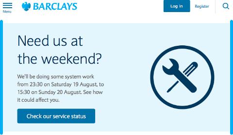 Alerte de service Barclays