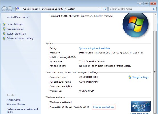 windows 7 product key free 2009