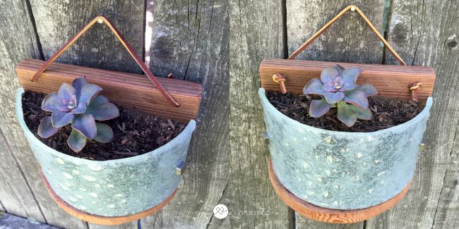 adding leather hangers to planters