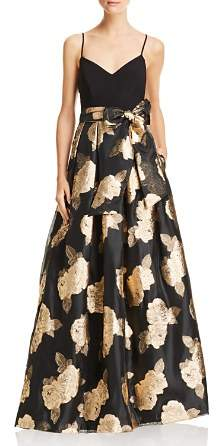 Eliza J Metallic Floral Ball Gown