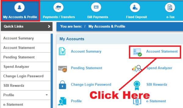 download sbi account statement online