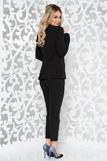 Compleu negru elegant din 2 piese cu pantalon din stofa usor elastica •