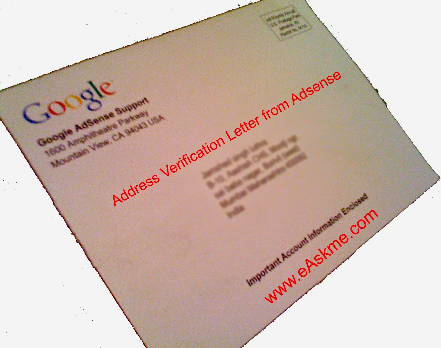 Address Verification Letter from Adsense : eAskme