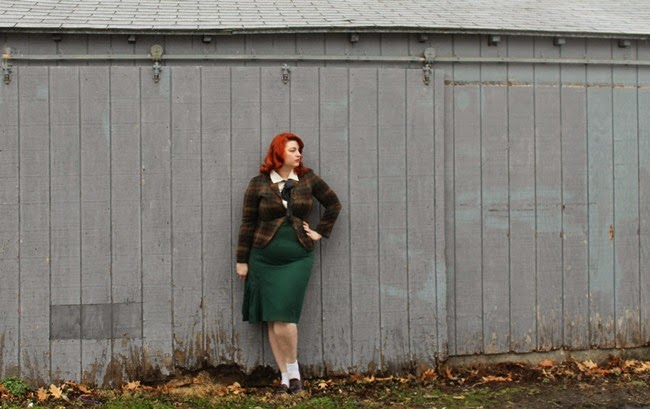 plus size vintage 1930s skirt and pendleton jacket  via Va-Voom Vintage with Brittany
