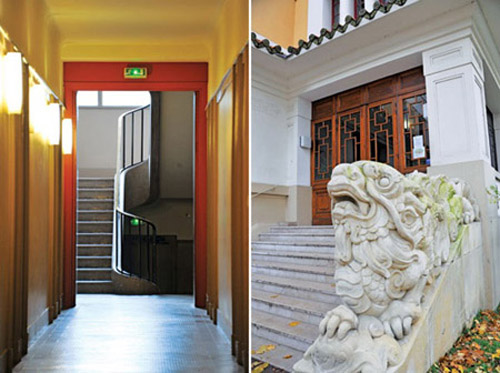 Dãy hành lang trong khu nhà Đông Dương và hình tượng nghê chầu ở lối vào chính của toà nhà.