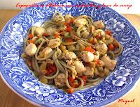Espaguetis de Albahaca con verduritas y lomo de conejo
