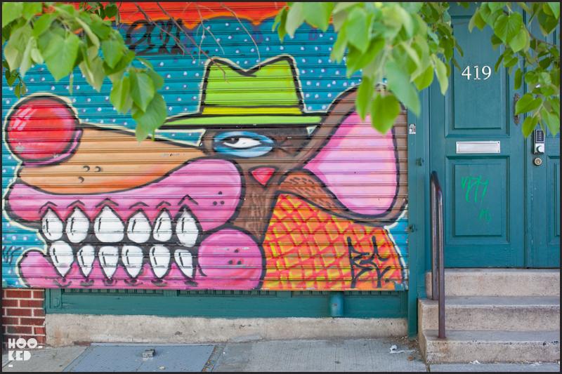 UK Street Art Sweet Toof Roller Shutters in Brooklyn New York