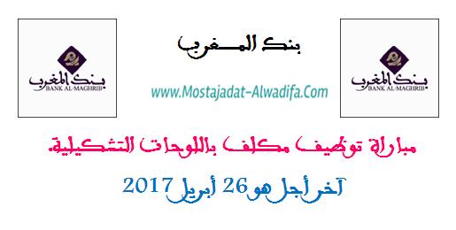 بنك المغرب: مباراة توظيف مكلف باللوحات التشكيلية. آخر أجل هو 26 أبريل 2017