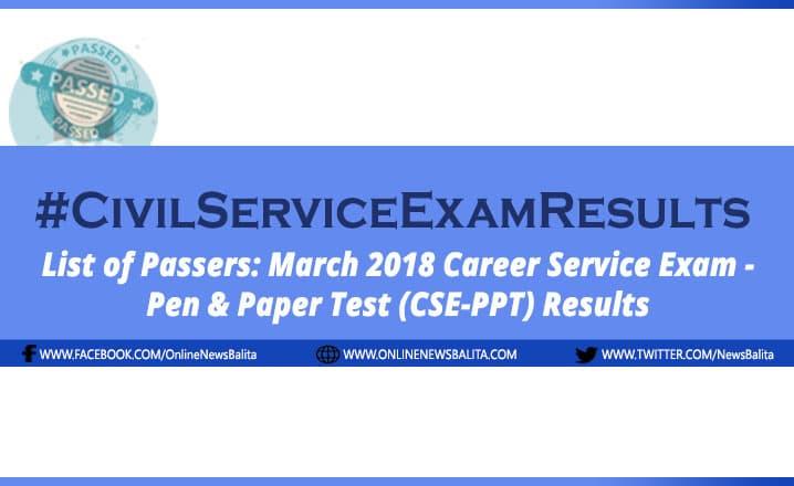 March 2018 Civil Service Exam Results CSE-PPT - CAR