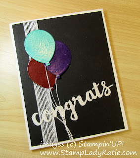 Balloon Card made with Stampinup's Balloon Bouquet Punch by StampLadyKatie. The balloons were clear embossed