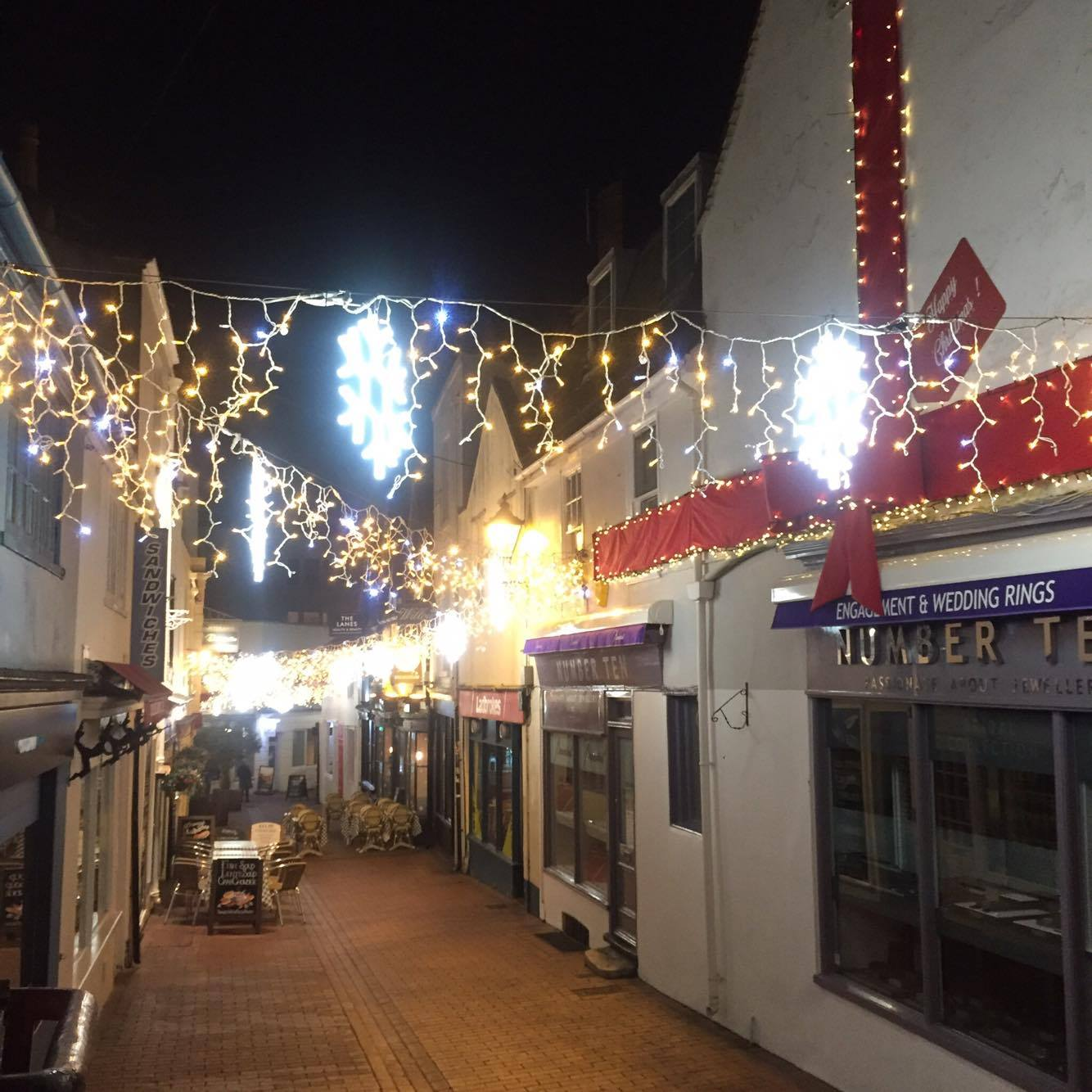 Beautiful christmas lights in The Lanes in Brighton