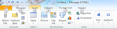 Here after, we don't need to memorize lot of shortcut keys to work on Microsoft office tools.  If you want to perform a specific operation using keyboard while working with any one of the Microsoft office software like Outlook, PowerPoint, Excel, Word Etc. then just press Alt key for 2 seconds. Then all the icons in the screen will be highlighted with specific numbers.  For example if I want to Insert an picture through keyboard shortcut in Microsoft outlook, then following are the steps I need to perform.  Press Alt key for 2 seconds Now I can see N symbol is highlighted near Insert. So, I press N. Now I can see P symbol is highlighted near the Picture . SO I press P. Then as usual I select the picture from the computer to insert In the message area.  This technique works in latest few versions of Microsoft office. Check whether it is working in your package and utilize it effectively.  We can work little leisurely using this simple technique as there is no need to store and recollect shortcuts for some familiar  operations we do perform usually.  But still, for operations like Copy (Ctrl C),Paste(Ctrl V), Bold & Italic (Ctrl B,Ctrl I), Uppercase and Lower case conversion (Shift+F3) shortcuts are best.