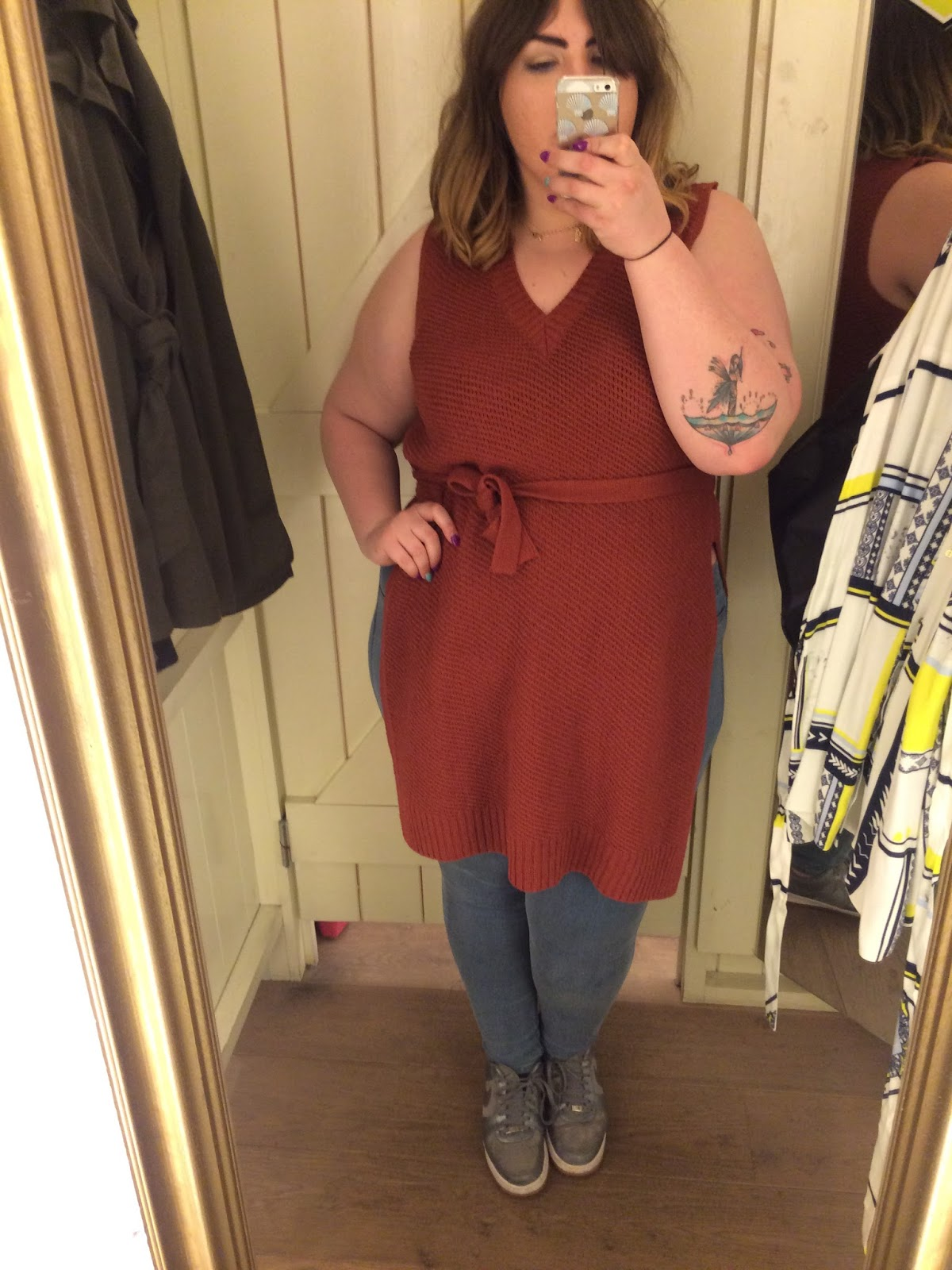 River Island Plus Size Range Brown Knitted Dress