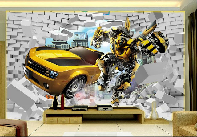 Transformers wall mural wallpaper for bedroom wallpaper Bumblebee car modern 3d wallpaper mural 3d Cars Transformers wallpaper for kid room