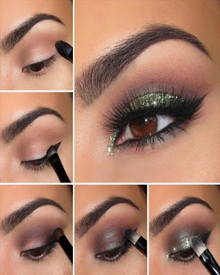 eye makeup elegant green step by step for day