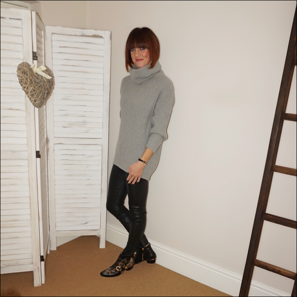 my midlife fashion, acne studios chunky knit roll neck jumper, hush leather leggings, chloe susanna studded ankle boots