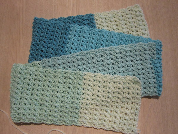 crochet, scarf, Caron Cakes, double crochet cross stitch